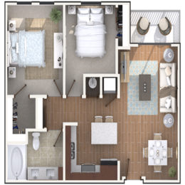 2 Bedroom 1 Bath architecture drawing of B1A floor plan