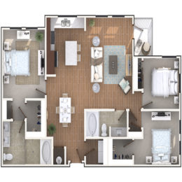3 Bedroom 2 Bath architecture drawing of C2A floor plan
